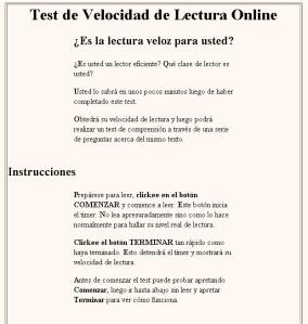 TEST DE VELOCIDAD Y COMPRENSIÓN. TESTO CON DIFICULTAD.