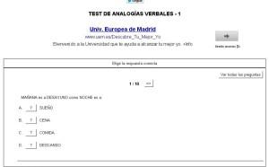 TEST DE ANALOGÍAS VERBALES.