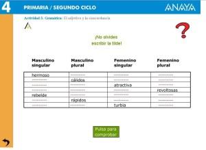 EL ADJETIVO Y LA CONCORDANCIA (Anaya) | Recursos Interactivos para ...