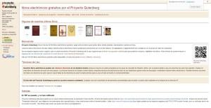 Proyecto Gutenberg. Biblioteca virtual que ofrece numerosas obras literarias en español y en otros idiomas libres de derechos.