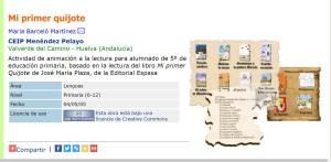 ZonaClic: Actividad de animación a la lectura para alumnado de 5º de educación primaria, basado en la lectura del libro Mi primer Quijote de José María Plaza, de la Editorial Espasa.